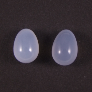 paire de pendant en calcédoine bleu clair